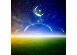 绿色草地与美丽的夜空