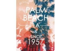 彩色椰子树数字印花图案