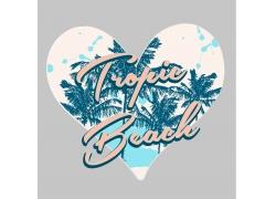 艺术字母心形椰子树印花图案