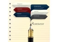 创意钢笔信息图表
