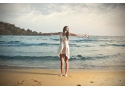 沙滩上的美女摄影