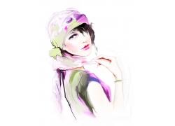 时尚女孩插画图片