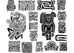 黑白古典花纹墨西哥图案