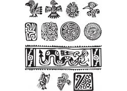 古典墨西哥动物花纹图案