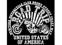 复古摩托车印花图案