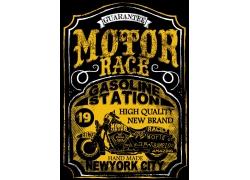 复古摩托车英文字母印花图案