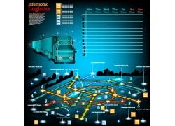 彩色线路卡车信息图表元素
