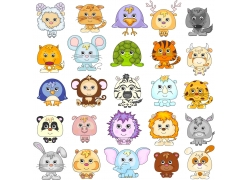 彩色卡通动物图片