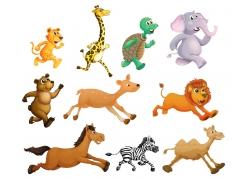 奔跑的卡通动物图片
