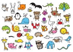 卡通长颈鹿等动物图片