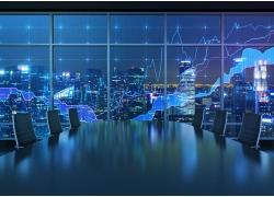 城市夜景与股票走势图