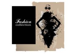 水墨喷溅与时尚女人插画图片