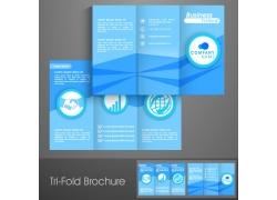 蓝色商务折页传单图片