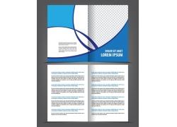 蓝色曲线折页传单图片