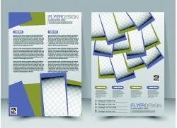 紫色几何图形折页传单图片