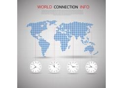 世界地图与时间钟表