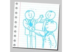 握手合作的卡通人物图片