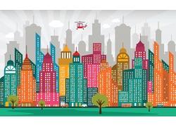 卡通高楼大厦插画图片