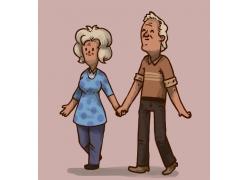 手牵手的老年夫妇漫画图片