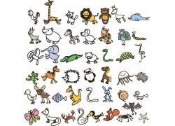可爱卡通动物背景图片