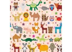 可爱卡通彩色动物背景图片