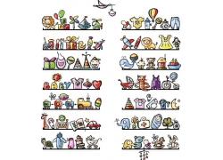 卡通动物玩具陈列背景图片