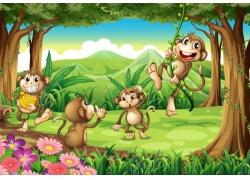 公园里游的猴子图片