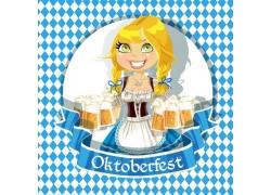 端着啤酒的卡通女孩图片
