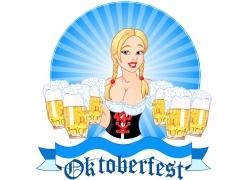 卡通啤酒服务员图片