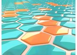 彩色水晶质感六边形背景