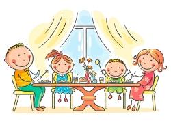 餐桌前的一家人图片