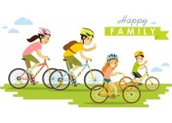 骑自行车的一家人图片