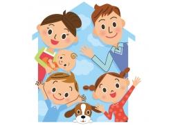 卡通家庭人物和狗图片