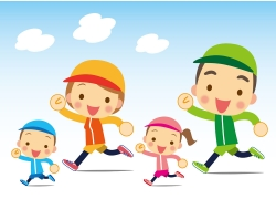 跑步的一家人图片