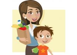 购物的母子俩图片