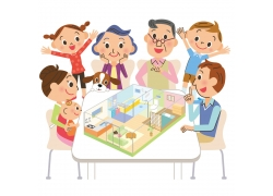 看房子模型的一家人图片