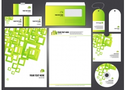 绿色方形几何图形企业VI模板