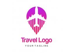 红色飞机定位标志logo设计