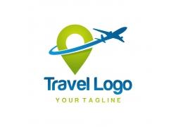 飞机与定位图标logo设计