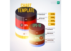 彩色立体圆柱体信息图表