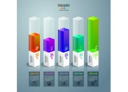 彩色长方体信息图表