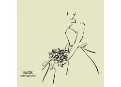 拿着花朵的美女插画