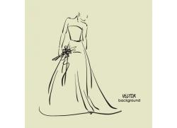 拿着花束的新娘美女