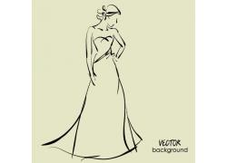 穿婚纱的美女插画