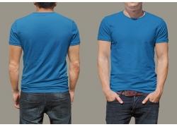 蓝色短袖T恤展示