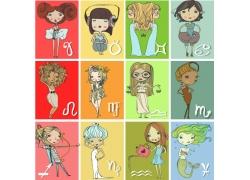 十二星座女孩插画图片