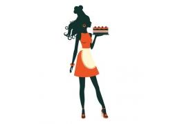 端着蛋糕的美女插画
