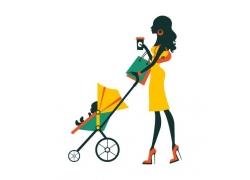 推着婴儿车的购物美女图片