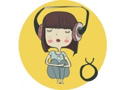 听音乐的卡通女孩图片