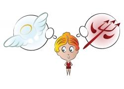 天使魔鬼女孩插画图片